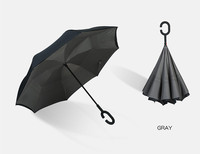 China manufacture wholesale free sample 105CM 8ribs straight double layers windproof hook c handle inverted reverse umbrella