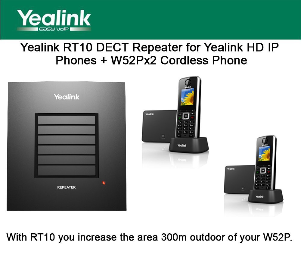 Yealink RT10 DECT Repeater for Yealink HD IP Phones + W52Px2 Cordless Phone