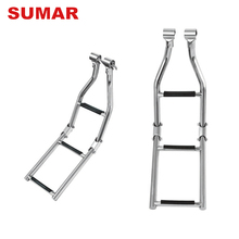 Wholesale custom mini marine wide step boat folding ladder for platform