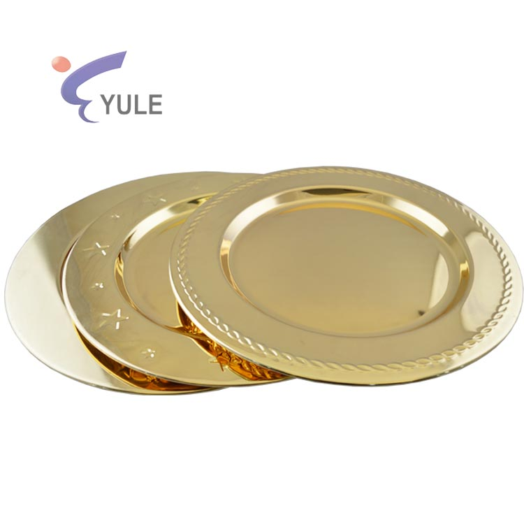 Manufacturer mirror polishing metal gold underplates for wedding decoration