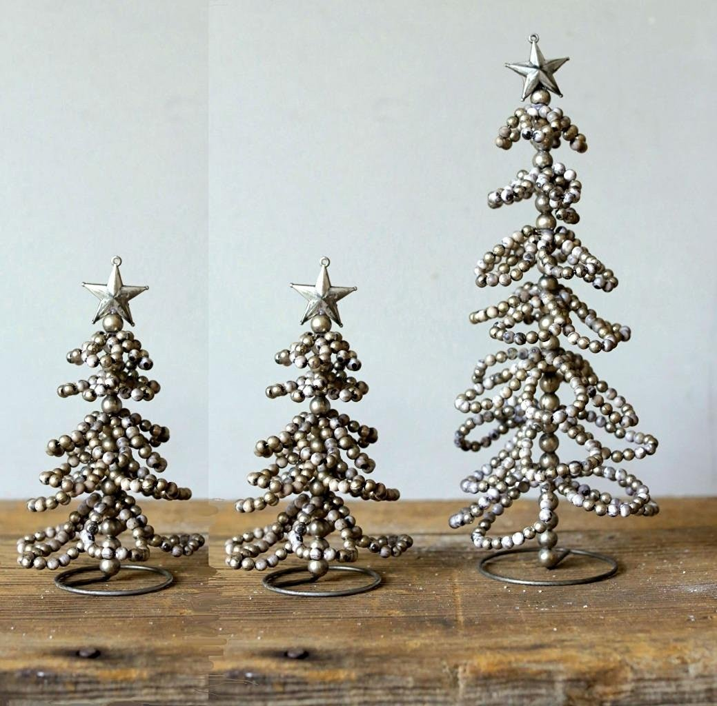 ... Christmas Village Trees Wired Beaded, Silver, Set Of 3