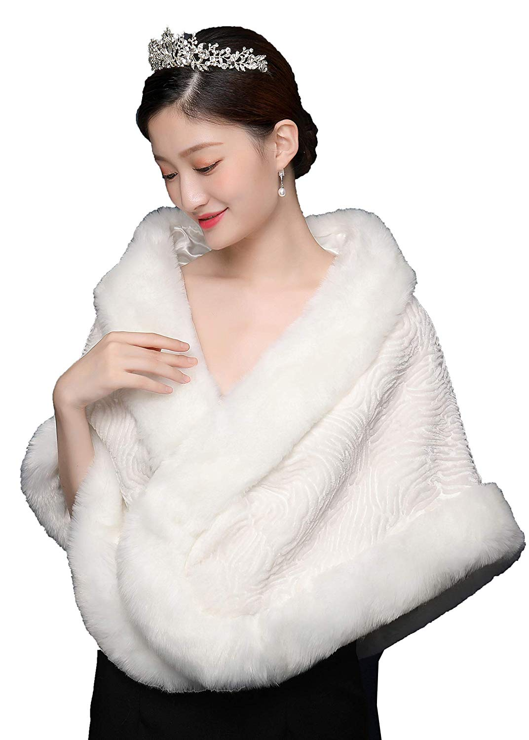 6e13b6565 OnlyBridal Faux Fur Shawl Wraps White Wedding Fur Wrap winter bridal wedding  evening Party Cape