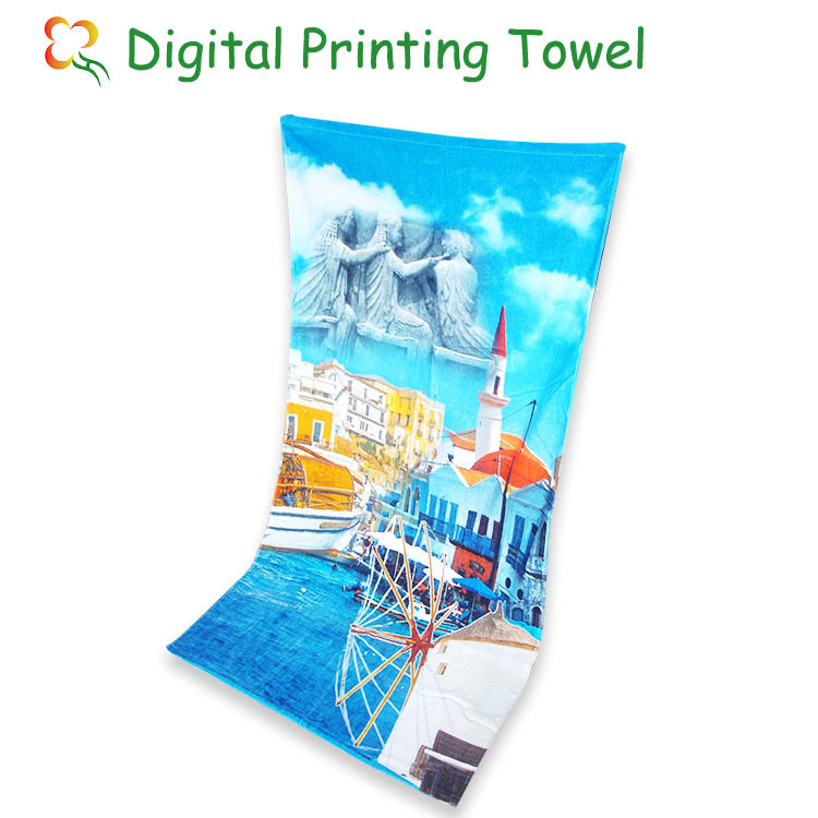custom logo colour digital printing beach <strong>towel</strong>