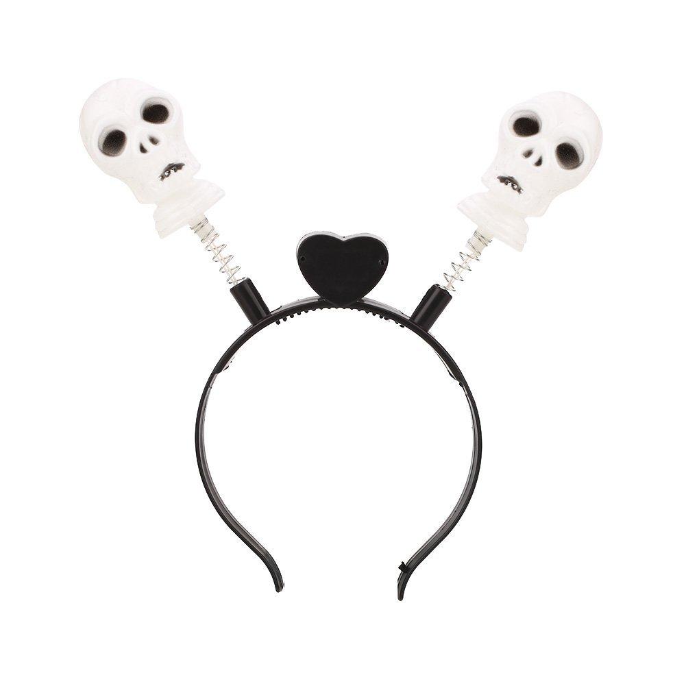Hanbaili Halloween LED Light Up Hair Band Head Band Pumpkin Flashing Party, skull springs pattern