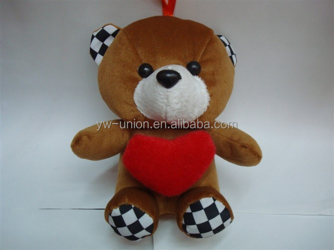 12 cm key chains red heart teddy bear / 18cm plush brown teddy bear toys
