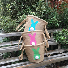 Personalized burlap easter bucket Easter bunny tote bags with pom ball