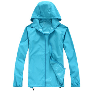 Fashion Unisex Light Weight Waterproof Quick Dry Thin hooded windbreaker jackets for men