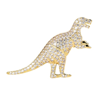 X1808282 xuping women cute rhinestone custom design animal dinosaur brooch pins+alloy 14k gold plated micro pave brooch jewelry
