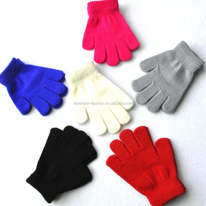 Candy Colors Acrylic Knitted Warm Soft Gloves For Children Aged 5-10 Years Old Gloves