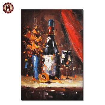 Peint à La Main Peinture à L Huile Mur Décoratif Bouteille De Vin Peintures Sur Toile Buy Peintures Décoratives De Bouteille De Vin De Mur Bouteille
