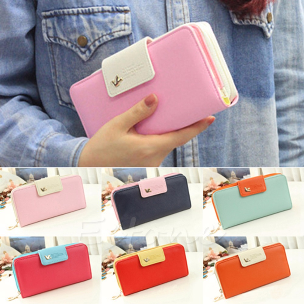 L155 Free Shipping New Women PU Leather Buckle Long Purse Clutch Cute Button Wallet Bag Card
