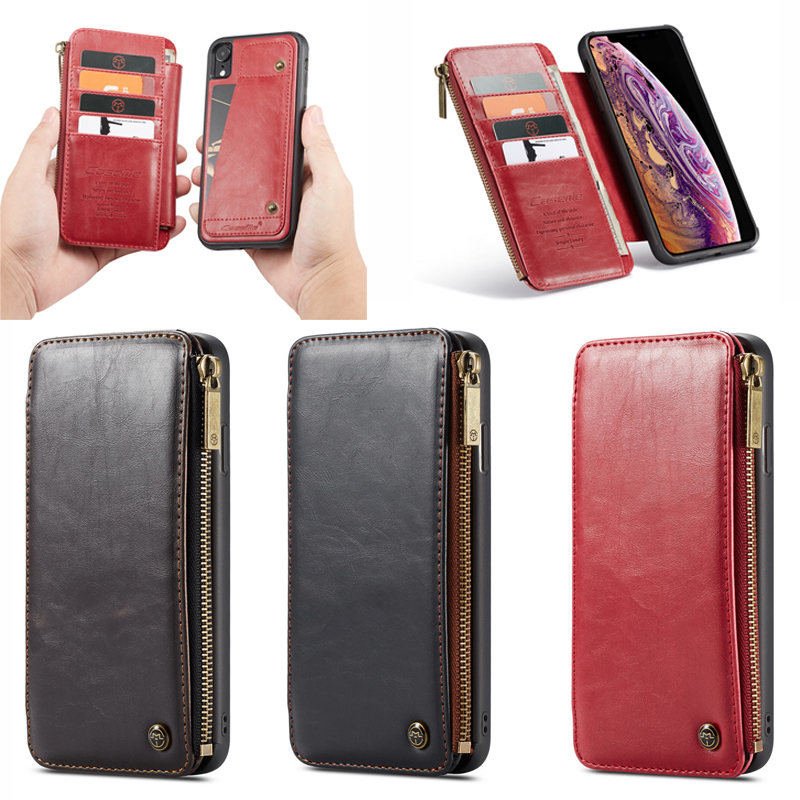 New for iPhone X XS XR XS Max Caseme Zipper Phone Wallet Case with Detachable Back Cover, As to the photo