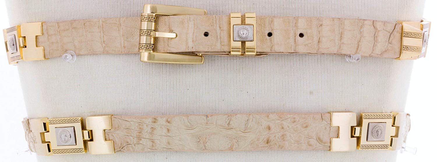 Mens Cowboy Belt White Crocodile Tail Print Leather Gold Links Rodeo Dress