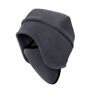 Custom women mens winter snow resistant outdoor sports riding windproof face cover ear flap polar fleece winter hats caps