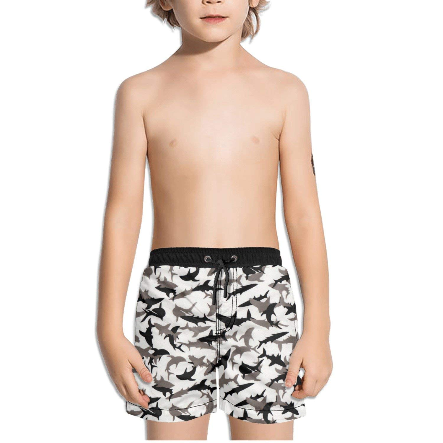 c1cf27fad5 Get Quotations · FullBo Shark Camo Little Boy's Short Swim Trunks Quick Dry  Beach Shorts