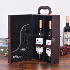 Good quality leather red wine bottle packing box case bag for gift