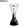 Custom bulk high quality clear figurine glass crystal trophy award
