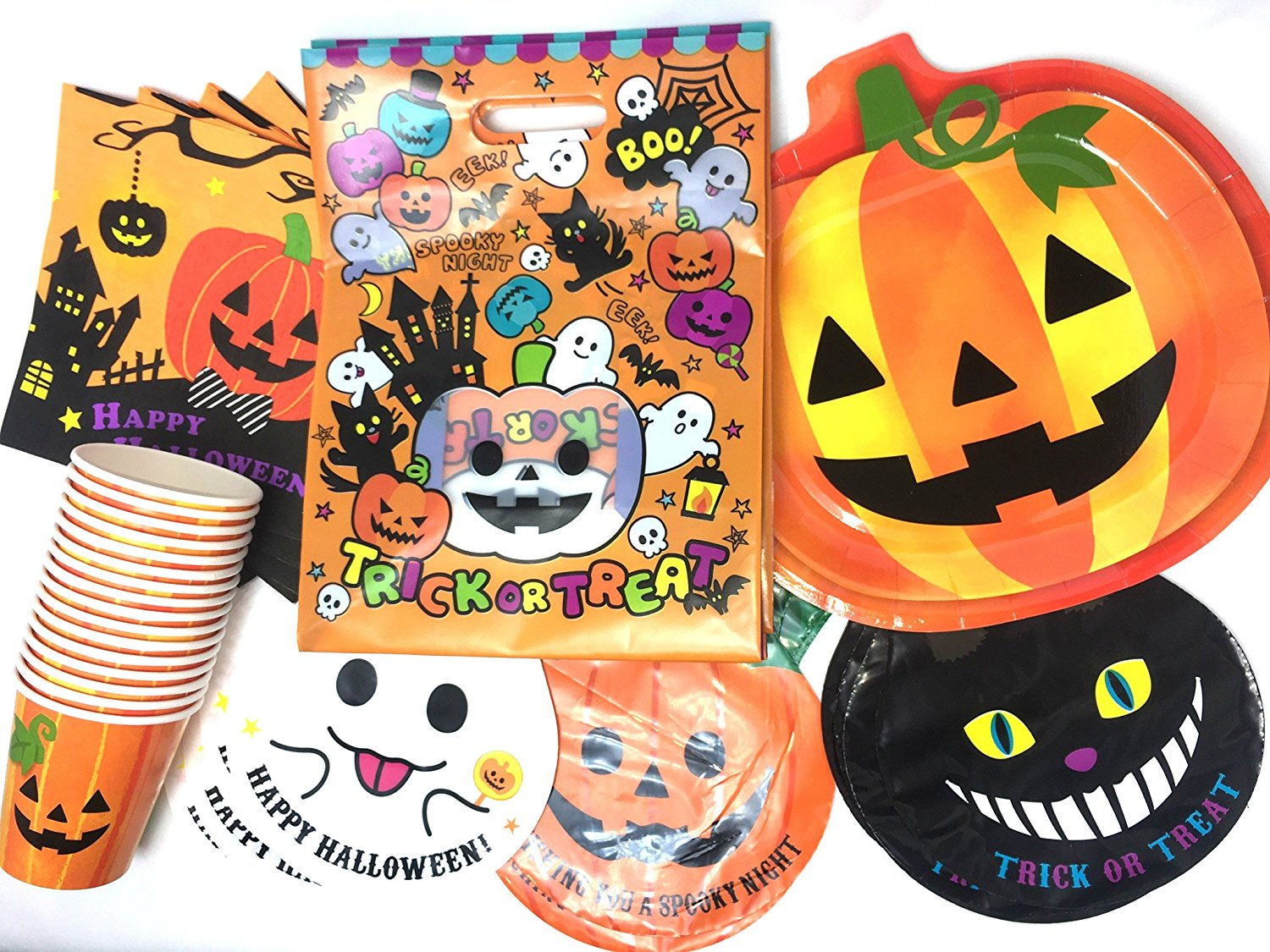 halloween theme party supplies collection for 6 guests plates napkins cups pumpkin ghost cat treat