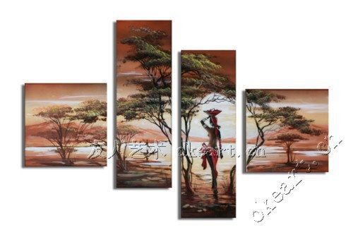 free shipping Tree dancing girl friends abstract painting of sunrise fortune tree 4 pcs set wall art in Africa style landscape