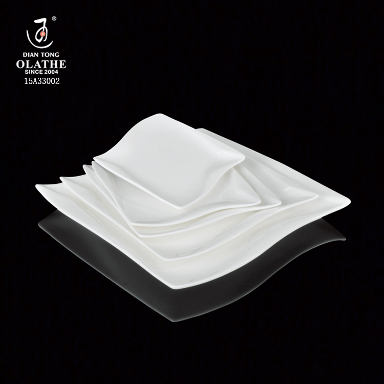 Square shape plain white plates sets dinnerware