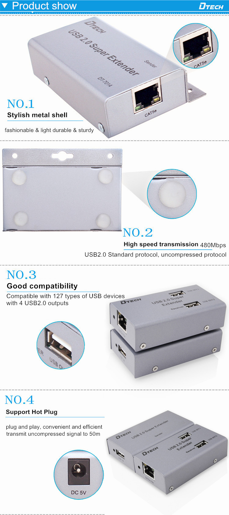 Dtech Hot selling 1080p 4 USB port USB2.0 Extender 50m