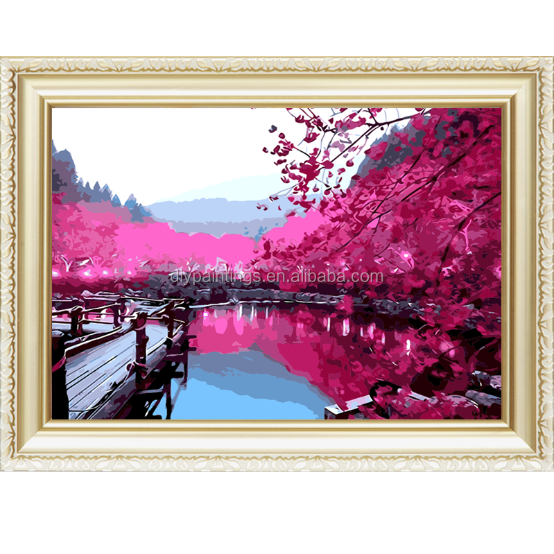 Diamond painting embroidery with maple and river beautiful secenery wall <strong>art</strong>