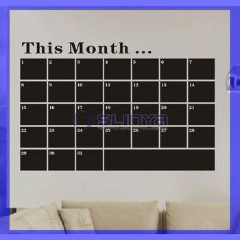 Vinyl Monthly Chalkboard Calendar Sticker Peel And Stick Blackboard