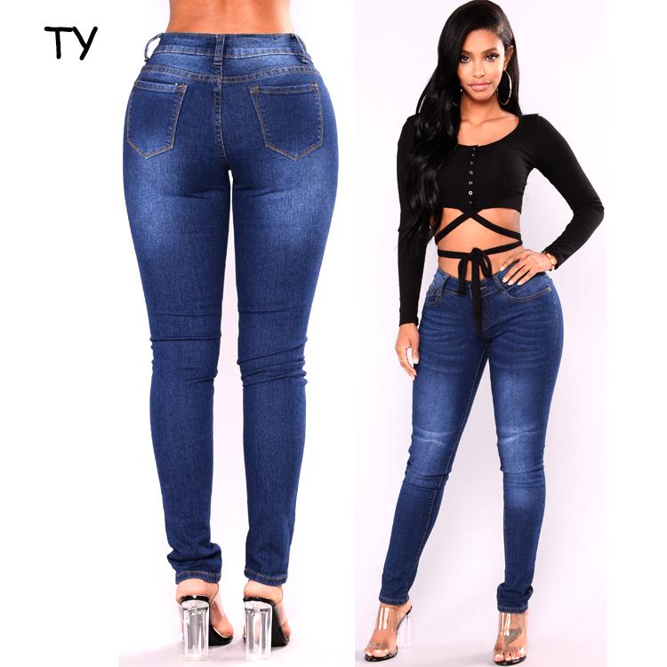 Mesdames Femmes taille haute 1 Genou Coupe Femme Stretch Slim Skinny Denim Jeans
