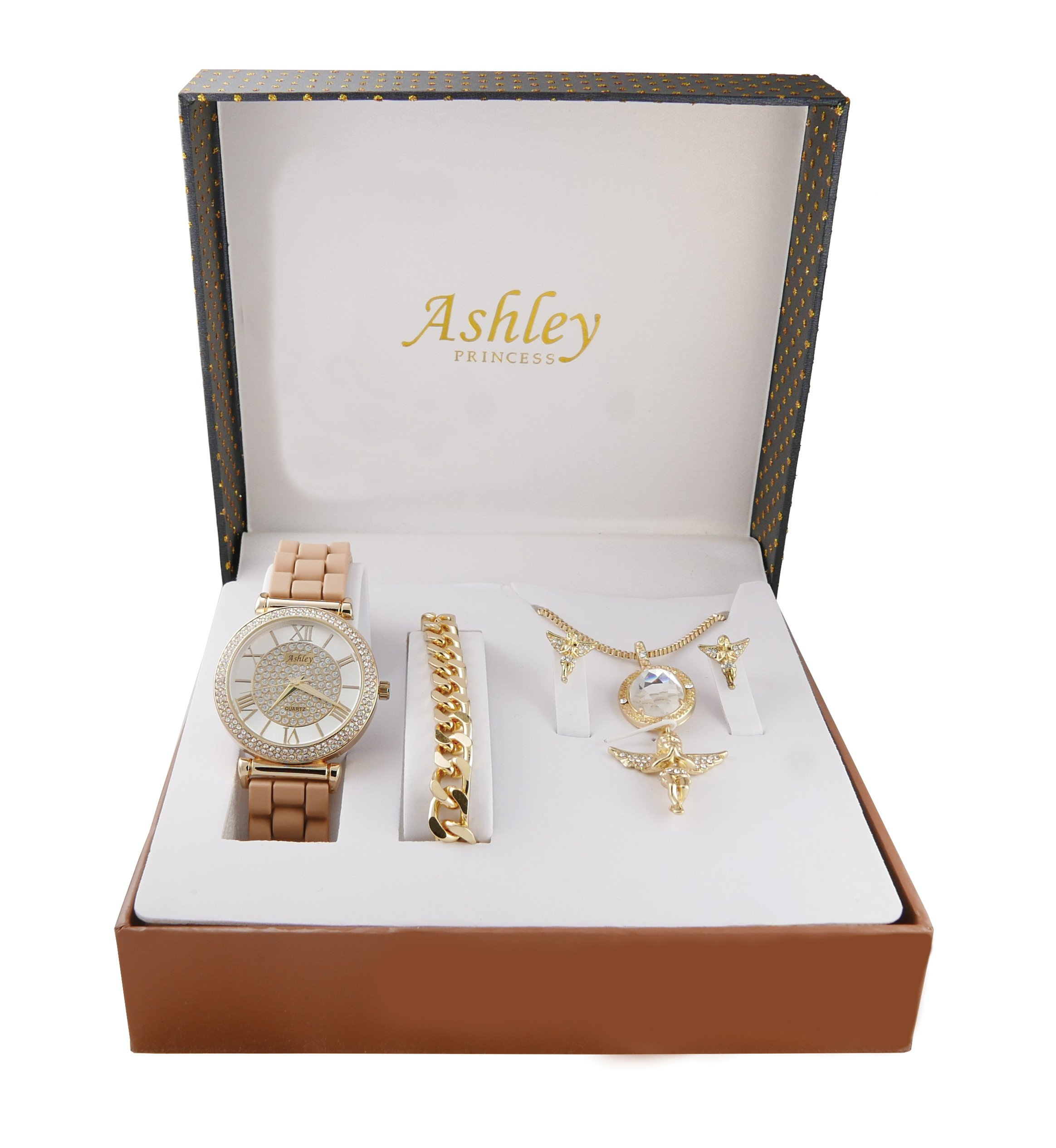 Iced Out Ladies Praying Guardian Angel Diamond Gem Pendent with Gold Necklace, Earrings, Gold Bracelet and Ladies Watch. Jewelry Set - 1412/8229-AG Beige