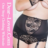 Fat Women Sexy Lingerie Plus Size High-waisted Lace Garter Belt