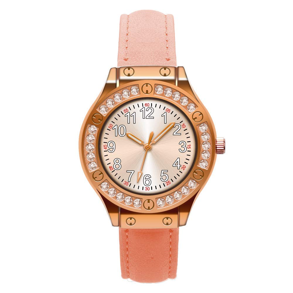 AKwell Woman Fashion Leather Band Gold Diamond Dial Analog Quartz Round Wrist Watch Watches