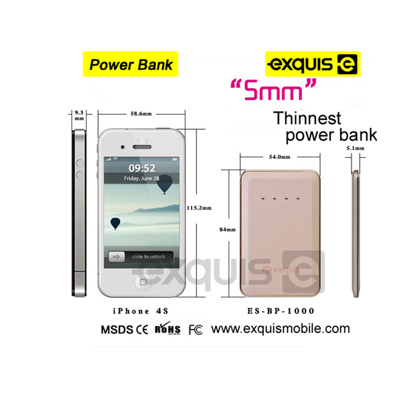 Newest Portable,credit card size power bank,Power bank 1000mah portable power bank Wholesale Five colors