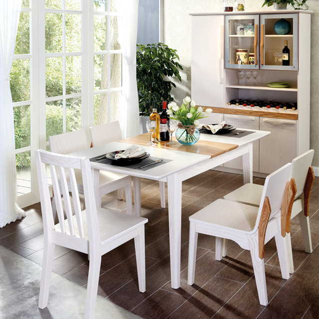 Best selling timeproof optional wood dinning table set with 6 chairs