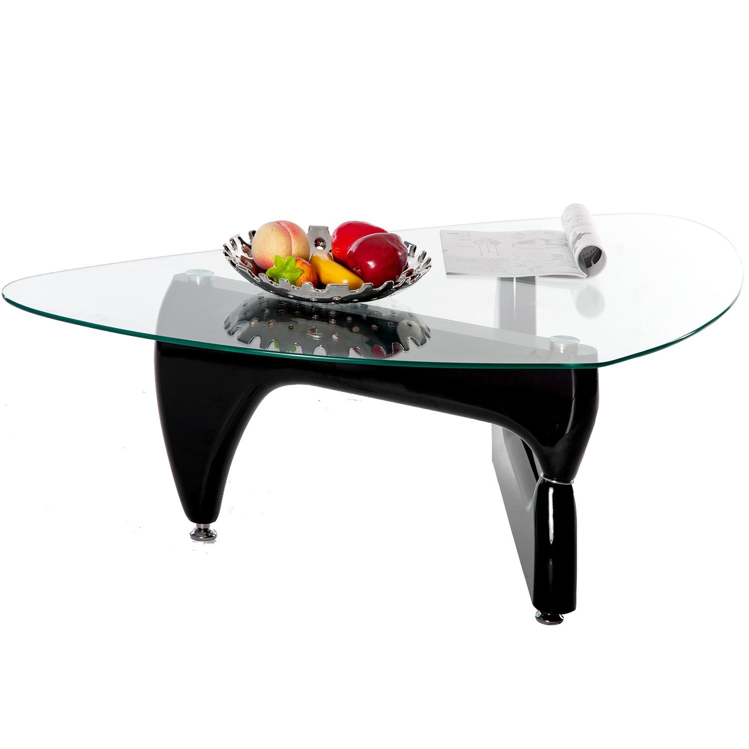 35f1ff73c21 Merax Contemporary Triangle Coffee Table With Clear Glass Top and Hardwood  Legs