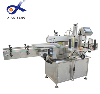 Automatic adjustment two head flat bottle adhesive labeling machine