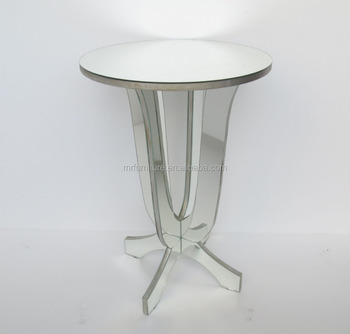 Beveled Mirrored Round Accent End Table Phone