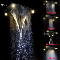 Led Overhead Shower Electric Waterfall Shower Head Recessed ...