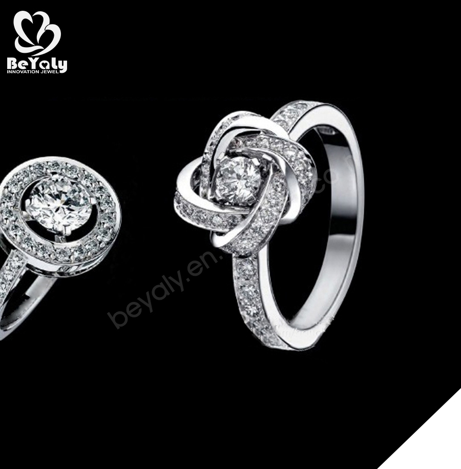 Pure love themes silver clear cubic zirconia bridal rings