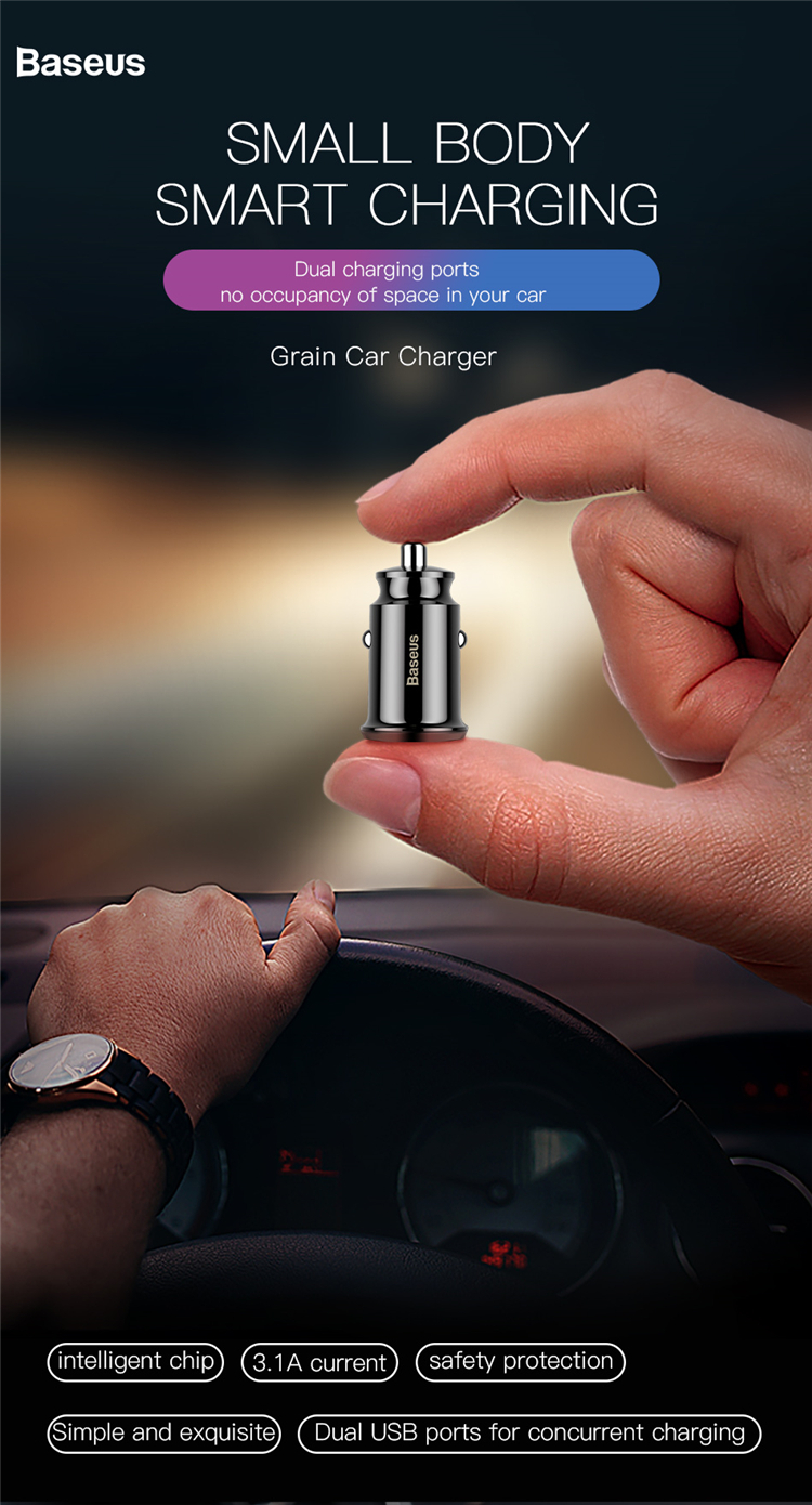 Baseus Mini Car Charger Portable USB Interface Battery Car Plug Charger For Phones