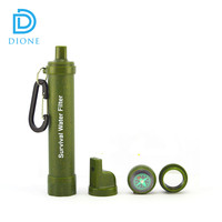 Personal Water Filter + Survival Multi- Tool - Includes Emergency Whistle/Compass for Camping in the Outdoors