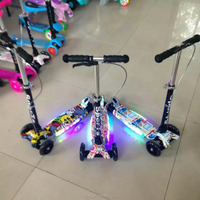 3 wheels popular adjustable foldable kids scooter with light for sale