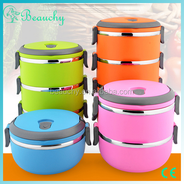 2017 colorful steamable stainless steel lunch box with dividers
