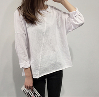 Pure white women's loose casual long sleeve t shirt made in slub cotton