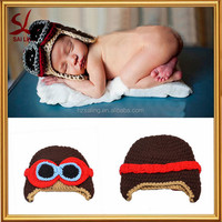 New Pilot Aviator Crochet Earflap Baby Hat Crocheted Hat Boys Warm Winter Knitted Hat