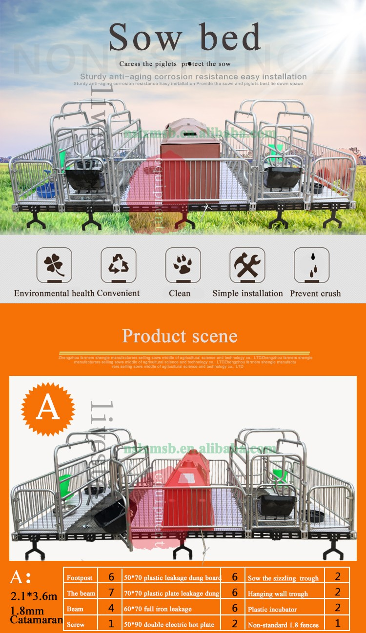 High Quality Farm Galvanized Elevated Farrowing Crate Design