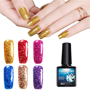 Wholesale 2018 Newest Glitter Color Soak Off UV/LED Diamond Glitter Nail Gel Polish