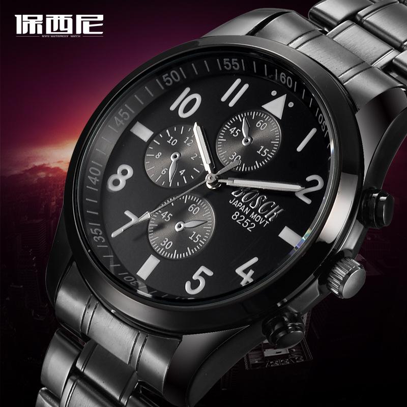 New BOSCK Brand Business font b Relogio b font Masculino Japan Movment Tungsten Steel Men Watch