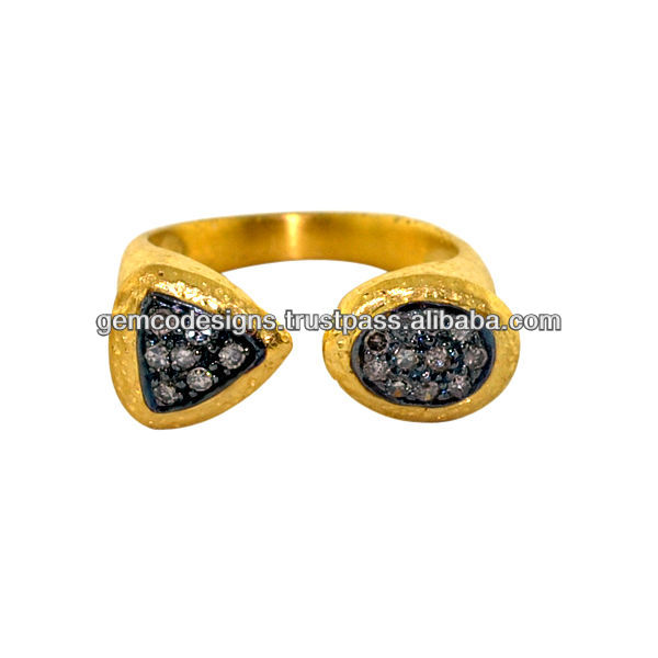 Pave Diamond Studded Designer Rings, Gold fine Diamond Oro anillo Handmade Jewelry