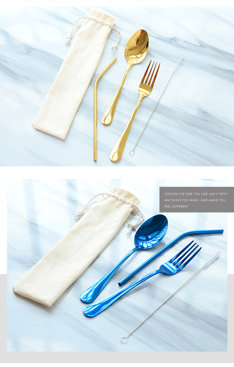 Promotional Stainless Steel Cutlery Set For Gift, Spoon And Fork Flatware Set With Reusable Straws