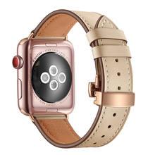 Роскошный ремешок из натуральной кожи для Apple Watch Band 42/38/44/40 мм Три цвета Бабочка Пряжка браслет для iwatch серии 5 4 3 2 1(Китай)